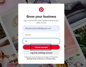 Pinterest Create Account
